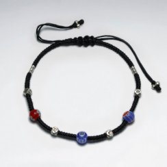 "7""  Adjustable Black Macrame Waxed Cotton Bracelet With Antique Handmade Silver Beads And Millefiori Beaded"