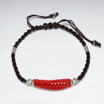 "7"" Adjustable Black Macrame Waxed Cotton Bracelet With Antique Handmade Silver Beads And Red Glass Beads"