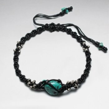 "7""  Adjustable Black Macrame Waxed Cotton Bracelet With Antique Handmade Silver Beads And Turquoise"