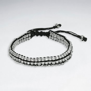 "7"" Adjustable Black Macrame Waxed Cotton Bracelet With Antique Handmade Silver Beads"