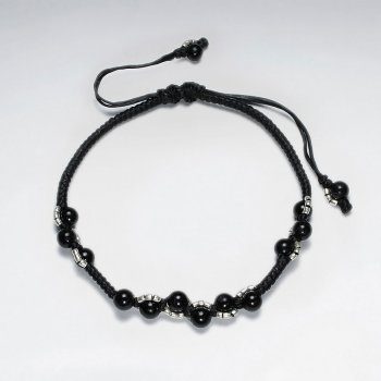 """7"""" Adjustable Black Macrame Waxed Cotton Bracelet With Antique Handmade Silver Beads"""