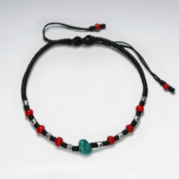 "7"" Adjustable Black Macrame Waxed Cotton Bracelet With Antique Handmade Silver Beads Red Glass Beads And Turquoise"