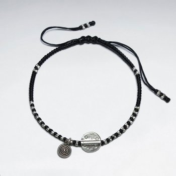 "7"" Adjustable Black Macrame Waxed Cotton Bracelet With Antique Handmade Silver Disk Beads"
