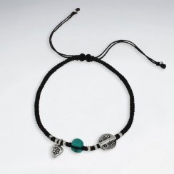"""7"""" Adjustable Black Macrame Waxed Cotton Bracelet With Antique Handmade Silver Disk Beads"""
