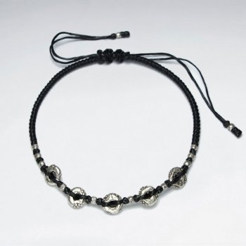 "7"" Adjustable Black Macrame Waxed Cotton Bracelet With Antique Handmade Silver Donut Beads"