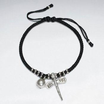 "7"" Adjustable Black Macrame Waxed Cotton Bracelet With Antique Handmade Silver Dragonfly  Charm"