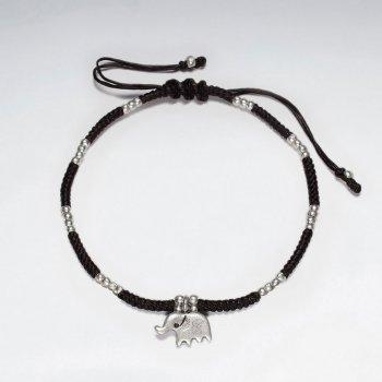 "7""  Adjustable Black Macrame Waxed Cotton Bracelet With Antique Handmade Silver Elephant Charm"