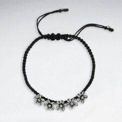 "7"" Adjustable Black Macrame Waxed Cotton Bracelet With Antique Handmade Silver Flower Charm"