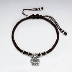 "7""  Adjustable Black Macrame Waxed Cotton Bracelet With Antique Handmade Silver Flower Charm"