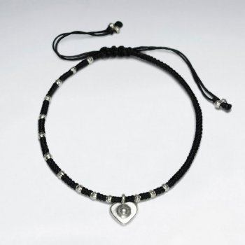 "7"" Adjustable Black Macrame Waxed Cotton Bracelet With Antique Handmade Silver Heart Charm"