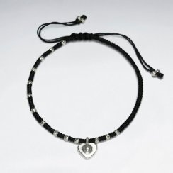 """7"""" Adjustable Black Macrame Waxed Cotton Bracelet With Antique Handmade Silver Heart Charm"""