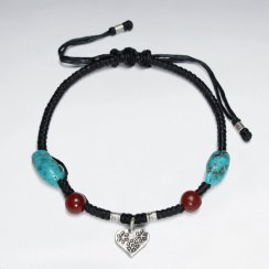 "7"" Adjustable Black Macrame Waxed Cotton Bracelet With Antique Handmade Silver Heart Charm Red Glass Bead And Turquoise"