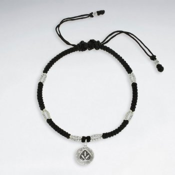 "7""  Adjustable Black Macrame Waxed Cotton Bracelet With Antique Handmade Silver Marijuana Charm"