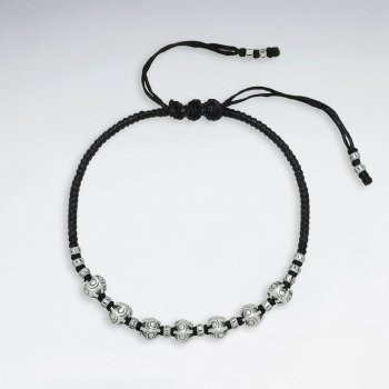 "7"" Adjustable Black Macrame Waxed Cotton Bracelet With Antique Handmade Silver Nugget Beads"