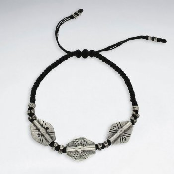 """7"""" Adjustable Black Macrame Waxed Cotton Bracelet With Antique Handmade Silver Oval Beads"""