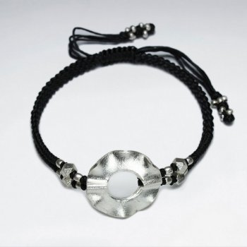 "7"" Adjustable Black Macrame Waxed Cotton Bracelet With Antique Handmade Silver Oversized Open Circle Beads"
