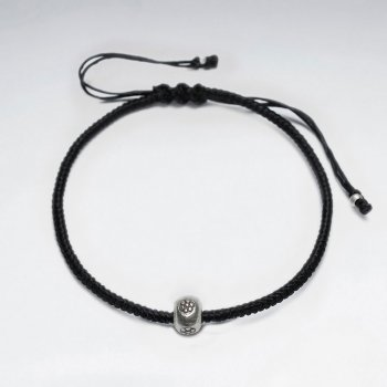 "7"" Adjustable Black Macrame Waxed Cotton Bracelet With Antique Handmade Silver Round Beads"