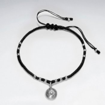 "7""  Adjustable Black Macrame Waxed Cotton Bracelet With Antique Handmade Silver Round Dangling Charm"