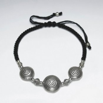 "7"" Adjustable Black Macrame Waxed Cotton Bracelet With Antique Handmade Silver Shell Shape Texture Beads"