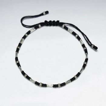 "7"" Adjustable Black Macrame Waxed Cotton Bracelet With Antique Handmade Silver Silver Tube"