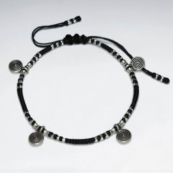 "7"" Adjustable Black Macrame Waxed Cotton Bracelet With Antique Handmade Silver Spiral Charm"