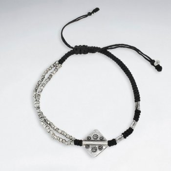 """7"""" Adjustable Black Macrame Waxed Cotton Bracelet With Antique Handmade Silver Square Charm"""
