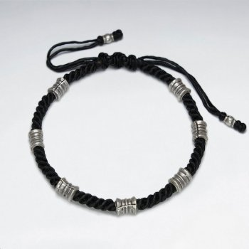 "7"" Adjustable Black Macrame Waxed Cotton Bracelet With Antique Handmade Silver Tube Beads"