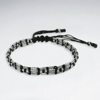 """7"""" Adjustable Black Macrame Waxed Cotton Bracelet With Antique Handmade Silver Tube Beads"""