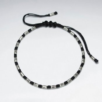 "7"" Adjustable Black Macrame Waxed Cotton Bracelet With Antique Handmade Silver Tube"