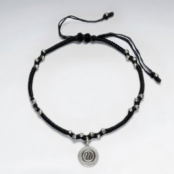 "7""  Adjustable Black Macrame Waxed Cotton Bracelet With Antique Handmade SilverYin Yang Charm"