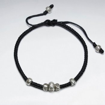 "7"" Adjustable Black Macrame Waxed Cotton Bracelet With Antique Nugget Silver Beads"