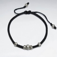 """7"""" Adjustable Black Macrame Waxed Cotton Bracelet With Antique Nugget Silver Beads"""