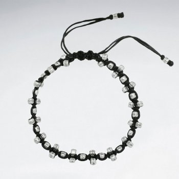 "7"" Adjustable Black Macrame Waxed Cotton Bracelet With Antique Nugget Tube Silver Beads"