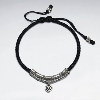 """7"""" Adjustable Black Macrame Waxed Cotton Bracelet With Antique Silver Curve Tube And Charms"""