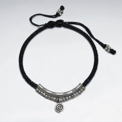 "7"" Adjustable Black Macrame Waxed Cotton Bracelet With Antique Silver Curve Tube And Charms"