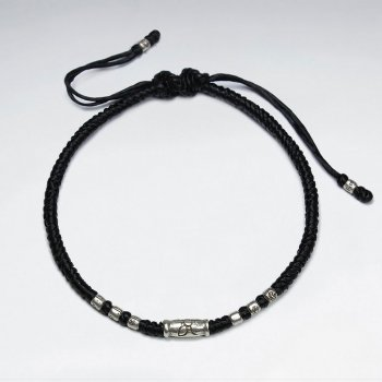 "7"" Adjustable Black Macrame Waxed Cotton Bracelet   With Antique Silver Tube Beads"