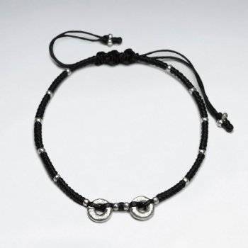 "7"" Adjustable Black Macrame Waxed Cotton Bracelet With Double Antique Hand Made Silver Donut Beads"