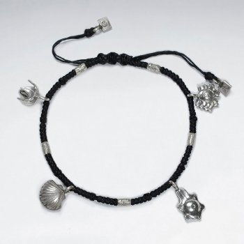 "7"" Adjustable Black Macrame Waxed Cotton Bracelet With Four Antique Hand Made Silver Charms"