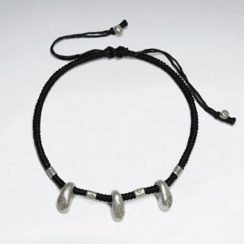 "7"" Adjustable Black Macrame Waxed Cotton Bracelet With Triple Antique Hand Made Silver Charm"