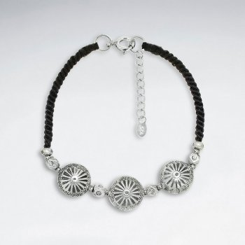 "7"" Adjustable Black Macrame Waxed Cotton Bracelet With Triple Antique Hand Made Silver  Round Beads"