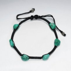 "7"" Adjustable Black Macrame Waxed Cotton Bracelet With Turquoise"