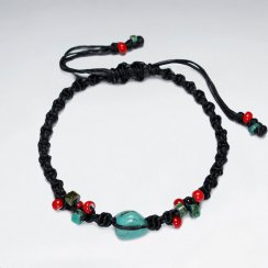 "7"" Adjustable Black Macrame Waxed Cotton Bracelet WithRed Glass Bead And Turquoise"