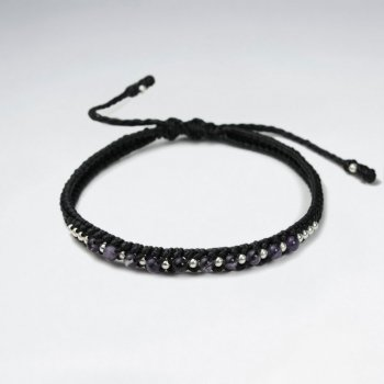 7 '' Adjustable Black Macrame Waxed Cotton Cord Bracelet With Amethyst and Silver Beads