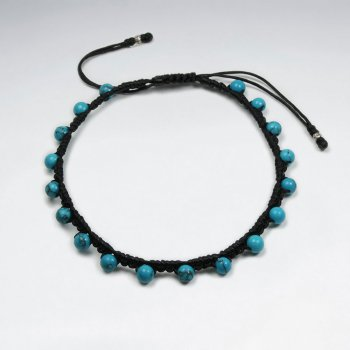 7 '' Adjustable Black Macrame Waxed Cotton Cord Bracelet With Blue Turquoise