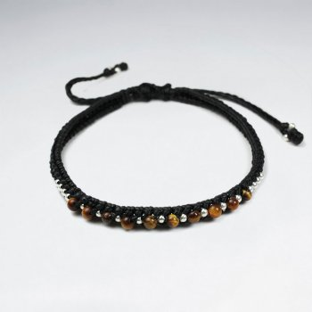 7 '' Adjustable Black Macrame Waxed Cotton Cord Bracelet With Tiger Eye and Silver Beads
