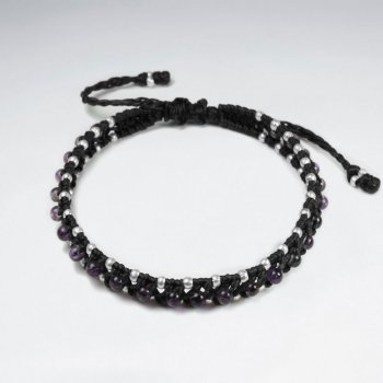 7 '' Adjustable Black Macrame Waxed Cotton Double Cord Bracelet With Amethyst and Silver Beads