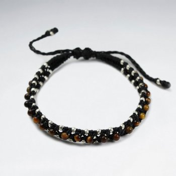 7 '' Adjustable Black Macrame Waxed Cotton Double Cord Bracelet With Tiger Eye and Silver Beads
