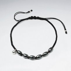 7 '' Adjustable Black Nylon Macrame Bracelet With Silver Charms and Oval Hematite