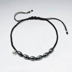 7 '' Adjustable Black Nylon Macrame Bracelet With Silver Charms and Oval Hematite