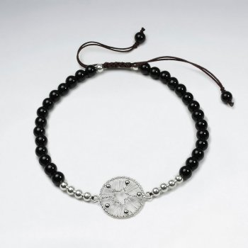 7 '' Adjustable Black Stone Macrame Waxed Cotton Bracelet With Silver Beads and Wirework Circle Star Cutout Charm